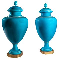 Important Pair of Turquoise Vases with Covers by Sèvres | From a unique collection of antique and modern vases and vessels at https://www.1stdibs.com/furniture/decorative-objects/vases-vessels/