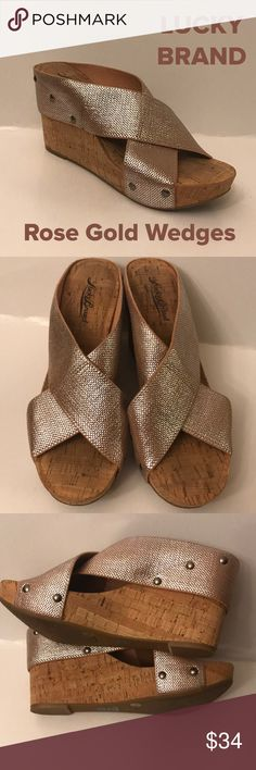 """Lucky Brand Rose Gold Wedges Excellent condition. Worn once. Beautiful color of Rose Gold which is so very popular right now. The wedge measures back, 3.75""""...front platform 1.5"""". Super cute!!! Lucky Brand Shoes Wedges"""