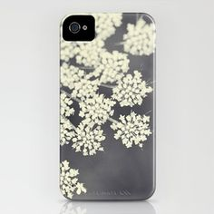 Black and White Queen Annes Lace iPhone Case by Erin Johnson - $35.00