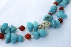 Chunky statement bracelet with blue and red jade by KCDesignsshop, $28.00