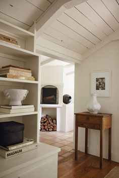 Clean Traditional Bookshelves and Fireplace