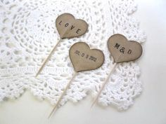 Wedding Cupcake Topper kraft PERSONALIZED HEART by BluePearls