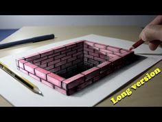 3D Trick Art on Paper Brick hole Long version - YouTube