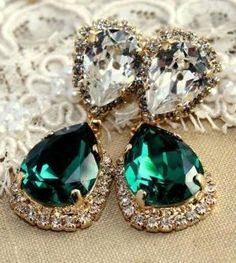 jewels earrings jewelry diamonds emerald green by margarett