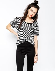 Monki+Stripe+Short+Sleeve+Tee