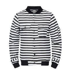 W-Stripe Bomber Jacket by 24:01. Classic design bomber jacket, made from cotton, long sleeves, pocket details on the sleeves, stylish jacket with black and white color, pair this cool jacket with black pants and t-shirt for casual style.    http://www.zocko.com/z/JIzHX