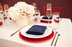 Interesting way to make a nameplate. How to Plan the Ultimate Romantic Dinner Date at Home via Brit + Co