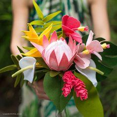 Felt Tropical Flowers Bouquet