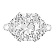 3.63 Carat Cushion-Cut Diamond Platinum Engagement Ring   From a unique collection of vintage engagement rings at https://www.1stdibs.com/jewelry/rings/engagement-rings/