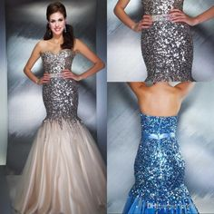 Wholesale Evening Dresses - Buy 2014 Luxury Strapless Sweetheart Neck Mermaid Prom Blingbling Floor Length Sequins And Crystal Evening Dresses UM985, $90.79 | DHgate