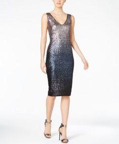 RACHEL Rachel Roy Ombré Sequined Sheath Dress