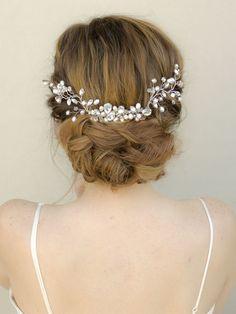 "Elegant Rhinestone and Pearl Beaded Bridal Hair Vine - ""Monique"" - Bridal Hair Accessories by Hair Comes the Bride"