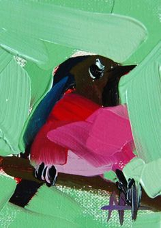 Pink-Breasted-Robin-no-7 original-Bird-oil-painting-by-Angela-Moulton