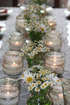 Hottest 7 Spring Wedding Flowers to Rock Your Big Day--baby breath and daisy wedding centerpieces Wedding Table, Rustic Wedding, Wedding Reception, Wedding Ideas, Wedding Cakes, Wedding White, Reception Ideas, Deco Champetre, Deco Floral