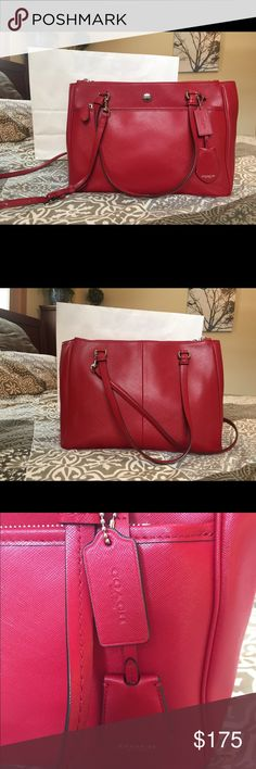 Coach Saffiano Leather Red Purse, Like New Beautiful red purse.  I went through a little binge period purchasing Coach purses and this one was maybe carried for a total of a month.  No wear, looks new. Multiple compartments, very spacious. Adjustable/removable shoulder strap.  Approx. 14 inches long x 5.5 inches deep by 9.5 inches high. Coach Bags Shoulder Bags