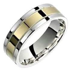 Alain Raphael 2 Tone Sterling Silver and 10k Yellow Gold 7 Millimeters Wide Wedding Band Ring. Please contact us to confirm ring sizes after your purchase. 925 sterling silver ring with 10k yellow gold comfort fit wedding band. FREE sizing from 4 to 14 (half sizes, quarter sizes, even 1/8). Ring width customization available. Comes in elegant velvet ring box.