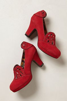 40s style retro repro Miss L Fire red shoes heels Delilah Heart Pumps - anthropologie.com