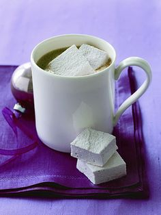 Hot cocoa is even better when topped with Peppermint Marshmallows!