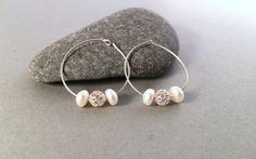 Sterling Silver Pearl Hoop EarringsClassic by PurpleSoulHeart