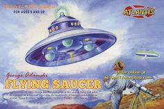 """BUILD YOUR OWN FLYING SAUCER: Dig this model kit from Marmit based on the flying saucer that UFO """"contactee"""" George Adamski claims he encountered. This gem comes to us from Japan! Plastic Model Kits, Plastic Models, Sci Fi Models, Magazine Images, Popular Toys, Flying Saucer, Top Toys, Ufo, Model Ships"""