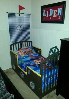 DIY Jake And The Neverland Pirates Toddler Bed/crib Transformation. We Cut  Down The