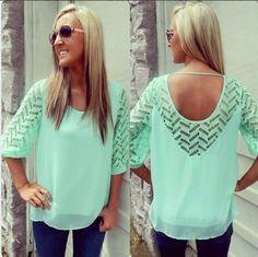 Fashion hollow out loose chiffon shirt  L810696