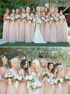 Blush and Neutral Wedding Ideas - bridesmaids in blush @weddingchicks