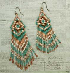 Linda's Crafty Inspirations: Native American Fringe Earrings - Teal & Bronze Shorter Version