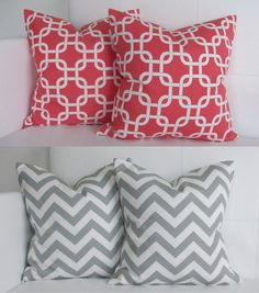 coral decorative pillows | Coral and Gray Decorative Accent Pillow Covers for Home Throw Pillows ...