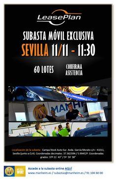 Diseño creado para la promoción de la Subasta Móvil Exclusiva LeasePlan en Sevilla, organizada por Manheim, para el miércoles 11/11 de 2015.