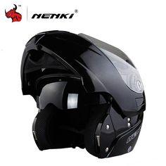 NENKI Safe Flip Up Motorcycle Helmet Capacete De Moto With Inner Sun Visor Black Motorcycle Racing Off Road Helmet