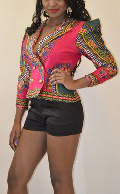 African Print Jacket by AnkaraRebel on Etsy. Okay. so I couldn't wear this in a million years, but i LOVE it!