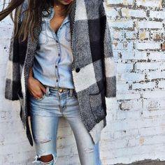 Coat: denim on denim denim ripped denim top spring fashion chic plaid jeans ripped jeans distressed