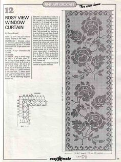 Rosy View Window Curtain - Filet Crochet Pattern