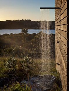 The outdoor shower of a New Zealand cabin.