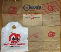 Assortment of Red Owl grocery bags. Owl Food, Red Owl, Grocery Bags, Paper Shopping Bag, Shopping Bags, Grab Bags