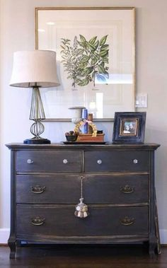 The dresser is newly painted SW Urbane Bronze, sanded to distress it and then it. The dresser is newly painted SW Urbane Bronze, sanded to distress it and then it got a tung oil rub down to finish her off. Furniture Projects, Furniture Makeover, Home Projects, Diy Furniture, Antique Furniture, Black Furniture, Furniture Design, Modern Furniture, Antique Dressers