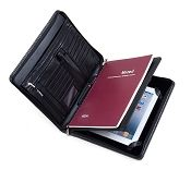 Deluxe Leather iPad Folio Case with Notepad Space, Outside Pocket, Black