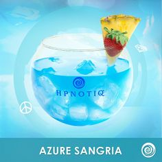 Start the night off the right way ! #Cheers ! Azure Sangria: 2oz Hpnotiq, 3oz White Wine, 1oz Ginger Ale #cocktails #drinks #sangria #happyhour