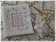 Col's Creations - Traditional Hardanger Designs - Needle Case And Scissor Fob - A Perfect Gift or Stitch One For Yourself