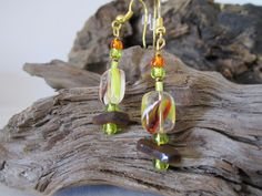 Gold Hanging with Gold, Brown, Green with Small Brown Sea Glass