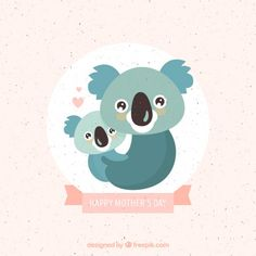 Lovely koala mother with baby background Free Vector