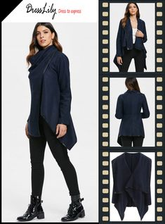 0c76ef7b5a Stylish Women's Long Sleeves Solid Color Asymmetric Wool Coat. Női  DzsekikBőrdzseki