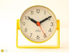 Space Age Panton Desk Wall Clock - 1970s German Atomic Mid Century Yellow table Plastic mcm