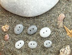 6  Beach Pebbles Buttons - Mediterranean Beach Rocks - For handbags,pillows,Sewing supplies.Craft supplies.