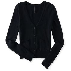 Aeropostale Solid Pocket Buttoned Cardigan ($30) ❤ liked on Polyvore featuring tops, cardigans, black, pocket tops, aéropostale, layering cardigans, slim fit cardigan and black button cardigan