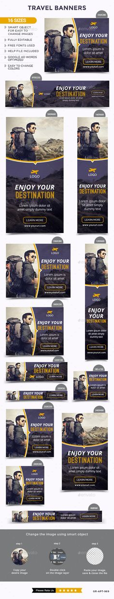 Buy Travel Banners by Hyov on GraphicRiver. Promote your Products and services with this great looking Banner Set. 16 awesome quality banner template PSD files r. Banner Design Inspiration, Web Banner Design, Hotel Ads, Roll Up Design, Web Design Projects, Display Ads, Promotional Design, Postcard Design, Banner Template