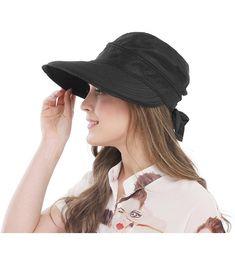 b127b3f9037 Wide Large Brim Sun Hat Summer UV Protection Thin Hat 2 In 1 Beach Sun Hat  Black CP12NZ2ZTH3