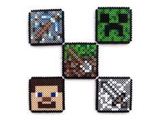 Minecraft Coaster Set Perler Bead Sprites by PXLTD