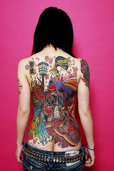 japanese Tattoo girl, back piece
